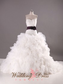 wedding photo - Organza Wedding Dress Ballgown Drop Waist Sweetheart Neckline Sash Available in a Variety of Colors