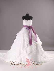 wedding photo - Organza Striped Wedding Dress Sweetheart Neckline Custom Made Sash Available in a Variety of Colors