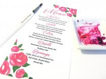"wedding photo - Watercolor Wedding Menu - Entree Card Napkin Insert Menu ""Rose Garden"" Deep Pink Wedding Reception Card Dinner Menu Card - Reception Menu"