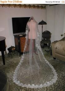 wedding photo - BRIDAL SALE Ivory Lace MANTILLA Bridal Veil