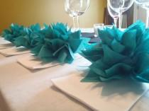 wedding photo - 10 Teal Paper Dahlia Napkin Holders.Eco wedding, hip parties, babies, wine night. Tissue paper Pom Pom flowers