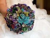 "wedding photo - Royal Purple Wedding Brooch Bouquet. Deposit ""Alice in Wonderland"" Amethyst Emerald Wedding Bouquet. Purple Green Blue Bridal broach bouquet"