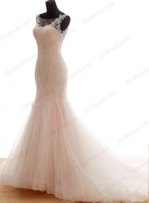 wedding photo - IS044 Cheap feminine blush pink mermaid tulle wedding dress 2016