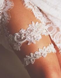wedding photo - Bridal Garter Wedding Garter Set - Keepsake Garter Toss Garter Included - Ivory Garter Beaded Flower Lace Garter Garters - Vintage Inspired