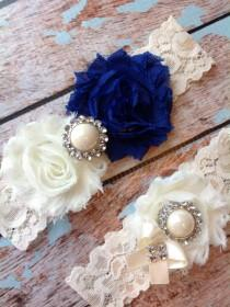 wedding photo - ROYAL BLUE  wedding garter set / bridal  garter/  lace garter / toss garter included /  wedding garter / vintage inspired lace garter