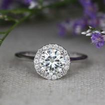 wedding photo - Halo Diamond Moissanite Engagement Ring in 14k White Gold Halo Wedding Ring 7x7mm Forever Brilliant Moissanite Solitaire Ring