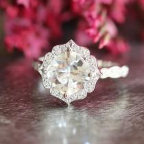 wedding photo - White Topaz Diamond Engagement Ring in 14k White Gold Vintage Floral Scalloped Diamond Wedding Band 8x8mm Cushion Gemstone Ring