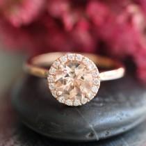 wedding photo - Rose Gold Morganite Ring Diamond Halo Engagement Ring in 14k Gold 7mm Pink Peach Morganie Wedding Ring (Bridal Wedding Set Available)