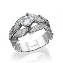 wedding photo - Leaves  Engagement Ring, white Gold Ring, Diamond Ring, Art Deco Ring, Wedding Ring, Leaf Ring, halo engagement ring, band ring, 14K Ring