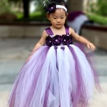 wedding photo - Flower Girl Dress Plum tutu dress baby dress toddler birthday dress wedding dress 1T 2T 3T 4T 5T 6T