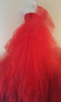 wedding photo - Exotic Indian Inspired Red Corset Tulle Sari / Saree Ball Gown Dress Bridal Wedding Gown Party Costume