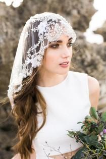 wedding photo - Bridal Veil Mantilla Crystal Wedding Veil - Style 002