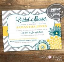 wedding photo - Wedding Shower Invitation, Bridal Shower Invitation, Chevron, Floral, Teal, Yellow, Gray, Grey, Printable (Custom Order, INSTANT DOWNLOAD)