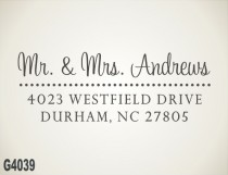 wedding photo - Custom Address Stamp - calligraphy handwriting script,  personalized address stamp, wedding gift (G4039)