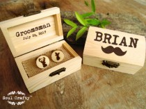 wedding photo - Buck Doe Wooden Cufflinks Engraved Customized box Dad Grooms Groomsman Gift Set Personalized Rustic Wedding Birthday Gift Cuff links