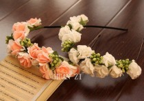 wedding photo - Ivory Pink Artificial Rose Flowers Garland Wedding Party Headband Bridal Hair Decoration