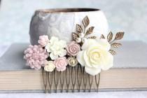 wedding photo - Blush Bridal Hair Comb Dusty Rose Pink Ivory Cream Flowers For Hair Soft Pink Ecru Floral Hair Piece Vintage Inspired Romantic Country Chic
