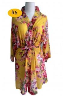 wedding photo - Yellow  Floral  Blooms Bridesmaids Robes Sets Kimono Robes Wraps bridesmaid gifts getting ready robes Bridal shower favors Floral