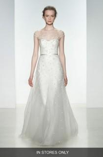 wedding photo - Women's Christos Bridal 'Ellie' Embellished Illusion Neck Tulle Gown, Size IN STORE ONLY - Ivory (In Stores Only)