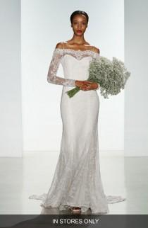 wedding photo - Women's Christos Bridal 'Tilly' Long Sleeve Off the Shoulder Corded Lace Gown, Size IN STORE ONLY - Ivory (In Stores Only)