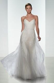 wedding photo - Women's Christos Bridal 'Effie' Point d'Esprit & Tulle Spaghetti Strap Gown, Size IN STORE ONLY - Ivory (In Stores Only)