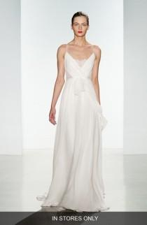 wedding photo - Women's Christos Bridal 'Tinsley' Silk Chiffon & Lace Spaghetti Strap Gown, Size IN STORE ONLY - Ivory (In Stores Only)