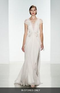 wedding photo - Women's Christos Bridal 'Lainee' Silk Chiffon & Lace Cap Sleeve Gown, Size IN STORE ONLY - Ivory (In Stores Only)
