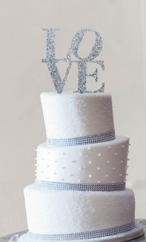 wedding photo - Philadelphia LOVE Wedding Cake Topper In Custom Colors, Modern Cake Topper, Unique Wedding Cake Topper, Pop Art Cake Topper - (S042)
