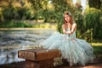 wedding photo - Aqua Flower Girl Dress, Tulle Dress