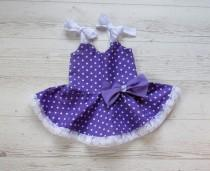wedding photo - Birthday dress, girls purple dress, polka dots dress,  baby sundress,  summer dress, girls party dress, party dress, purple party dress