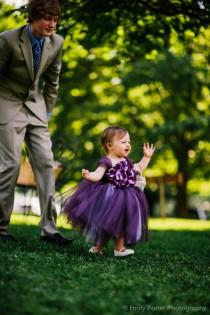 wedding photo - Flower girl dress Deep Purple and Lavender tutu dress, flower top, hydrangea top, toddler tutu dress