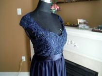 wedding photo - Navy blue bridesmaid dress, lace bridesmaid dress, navy blue lace dress, maternity lace gown