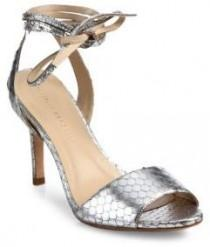 wedding photo - Loeffler Randall Elyse Metallic Snake-Embossed Leather Peep-Toe Ankle-Wrap Sandals