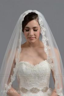 wedding photo - Mantilla bridal wedding veil chapel alencon lace