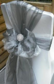 wedding photo - Silver Organza Chair Sashes (9FT, 10 PACK)