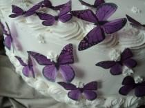 wedding photo - 24 PURPLE MONARCH BUTTERFLIES 100% Edible Pre Cut Decorations Dress Cakes Cookies Cake Pops Garnish Wine Glasses Plates Dessert Tables