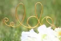 wedding photo - Gold Wire I DO wedding Cake Toppers - Decoration - Beach wedding - Bridal Shower - Bride and Groom - Rustic Country Chic Wedding