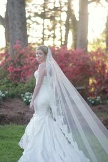 wedding photo - Mantilla Veil with Alencon lace cathedral length - Cara
