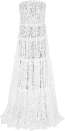wedding photo - Lanvin Strapless Tiered Lace Gown