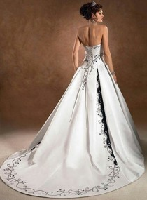 wedding photo - Satin Pretty A-line Strapless Embroidered Wedding Dresses