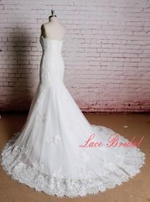 wedding photo - Sweetheart Neckline Wedding Dress Mermaid Style Bridal Gown with Chapel Train Elegant Lace Bridal Gown Ivory Wedding Dress