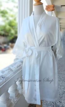 658e11c4f White Ivory Satin Lace Robe for Bride