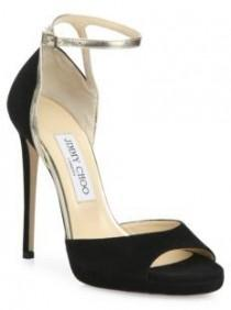 wedding photo - Jimmy Choo Pearl Suede & Metallic Leather Ankle-Strap Sandals