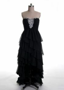 wedding photo - Strapless Crystals Black Chiffon Tiers Zipper Ruched Floor Length Chiffon