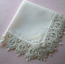 wedding photo - Bride's Hanky in Heirloom Venice Edge and Heirloom Batiste
