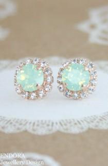 wedding photo - Mint Opal Earrings,mint Crystal Stud Earrings,mint Bridesmaid Earrings,Swarovski Mint,rose Gold Mint Earrings,rose Gold,mint Wedding Jewelry