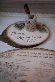 wedding photo - Please Sign Our Guest Log Wood Guestbook Ideas
