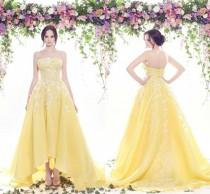 wedding photo - Sexy 2016 Arabic Strapless Evening Dresses Formal Yellow Satin Lace Long Celebrity Gowns High Low Cheap Arabic Prom Party Dresses Online with $103.27/Piece on Hjklp88's Store