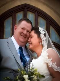 wedding photo - Alencon Lace Mantilla Veil, Wedding Veil Elbow Length Veil, White, Off-White, Ivory, Single Tier Beaded Lace Wedding Veil - Lace Bridal Veil
