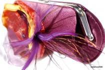 wedding photo - Bridesmaid Clutches Eggplant Purple Satin Purse with layered fabric flower in purple/gold/orange